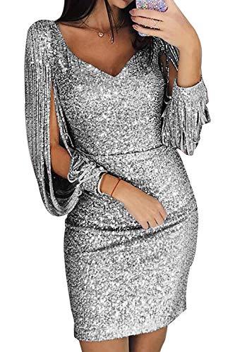 Avanon Glänzend Partykleid Damen Abendkleider Elegante Festliches Kleid Fransen Langarm...