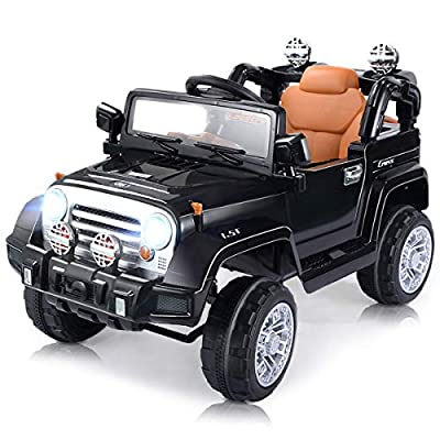 Costzon Ride On Jeep Car, 12V 2WD Powered Truck, Manual/ Parental Remote Control Modes Truck Vehicle with Headlights, MP3 Port, Music, Horn for Kids