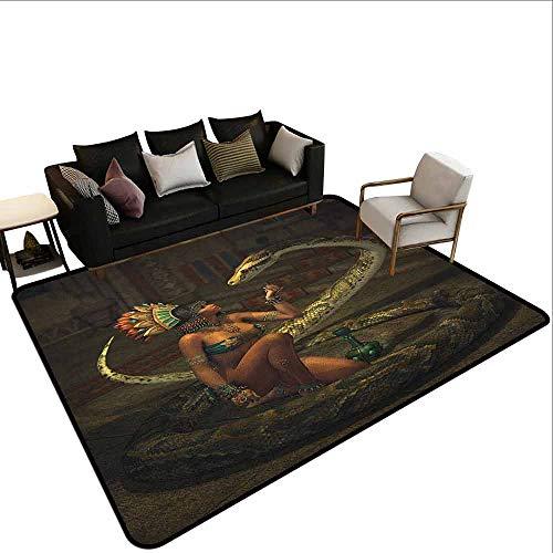 MsShe Slaapkamer woonkamer bescherming mat Fantasy, Meisje in een Roze Jurk Wandelen met een Giant Wolf Fir Forest en een Klein Huis, Roze Grijs Perzik