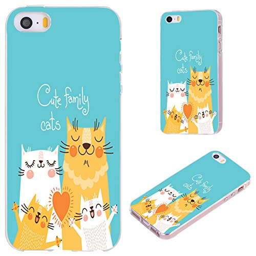 iPhone SE Case,iPhone 5S Case,iPhone 5 Case,VoMotec [Original Series] Anti-Scratch Slim Flexible Soft TPU Protective Skin Cover Case for iPhone 5 5S SE,Cute Cats Family on Teal Background