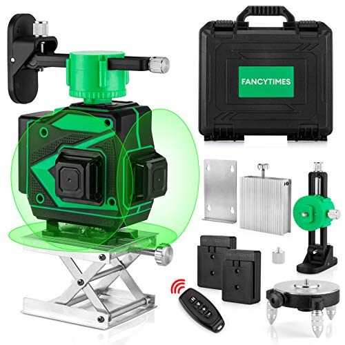 12 Lines 3D Laser Level with 3x360° Green Beam Cross Line 82ft  IP54 Waterproof Self Leveling Tool  Including 2 Pcs 2400mAh Batteres USB Charger amp Remote Control