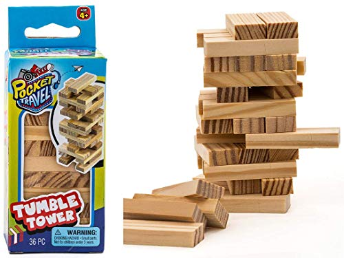 Real Wood Mini Tumble Tower Classic Game, Travel Size 4 Inch by JARU. Assortment of Classic Toys Party Favors Toy| Item 3276-1A