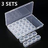 Diamant Broderie Box Lot de 3 clair, Boîte de Rangement 28 Compartiments Multi-fonctions 5D Diamant Broderie...