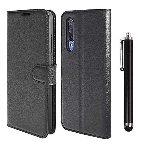 Annhao Funda para Xiaomi MI 9 Lite + Lápiz para Pantalla Táctil, Funda Cuero Libro Función de Soporte Ranura para Tarjeta con TPU Silicona Carcasa Protector para Xiaomi MI 9 Lite -Negro