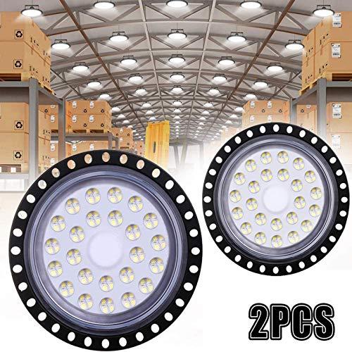 2Pcs 100W LED UFO 10000LM, WZTO Proiettore Faretto LED Lampadario Lampada Interni Industriale LED Luce Bianca 6000K, Impermeabile IP65 Fari Potente Risparmio Energetico Faretto per Officine Fabbrica