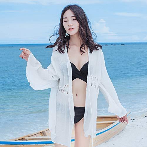 Yyh Kimonos gebreide damesjas, dames, strand, zonwering, lange kimono & lace crochet, bloemenperspectief, verflakking, badmode Eén maat 5
