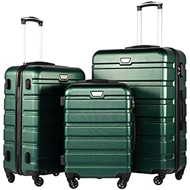 Coolife Luggage 3 Piece Set Suitcase Spinner Hardshell Lightweight (dark green3)