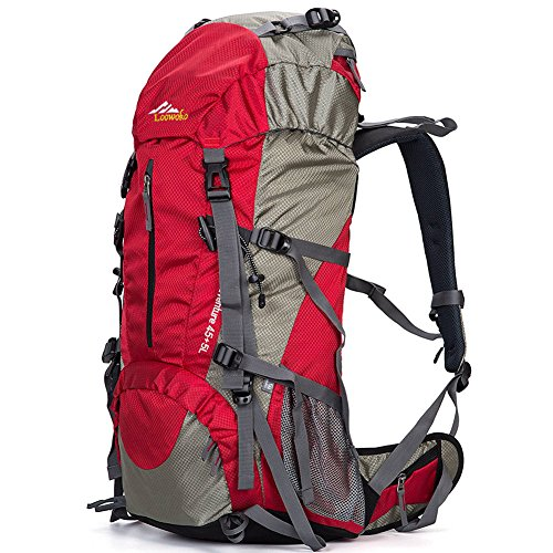 Hiking Backpack 50L Travel Daypack Waterproof with Rain Cover for Climbing Camping Mountaineering (Red)