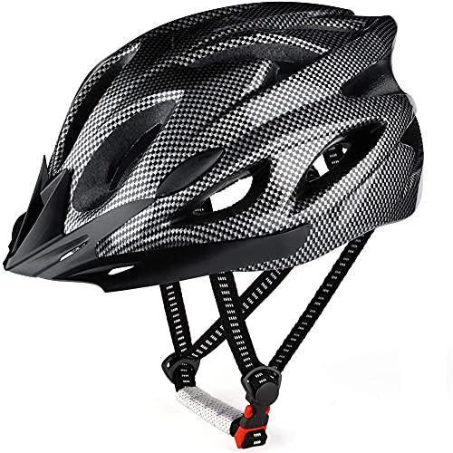 FeelMeet Casco per Ciclo Caschi per Biciclette in Fibra di Montagna in Fibra di Carbonio con Cinturino Regolabile per Adulti