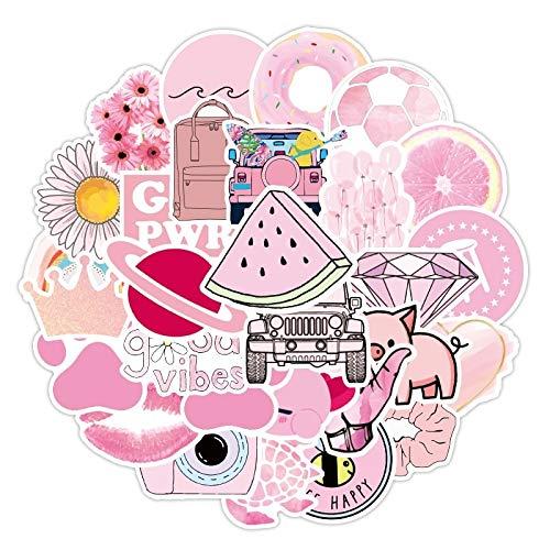 ZZHH 50 Uds, Pegatina Bonita de Dibujos Animados de Anime, pequeña niña Fresca, Pegatina Rosa, Bolsa para portátil, monopatín, álbum de Recortes, Maleta Impermeable
