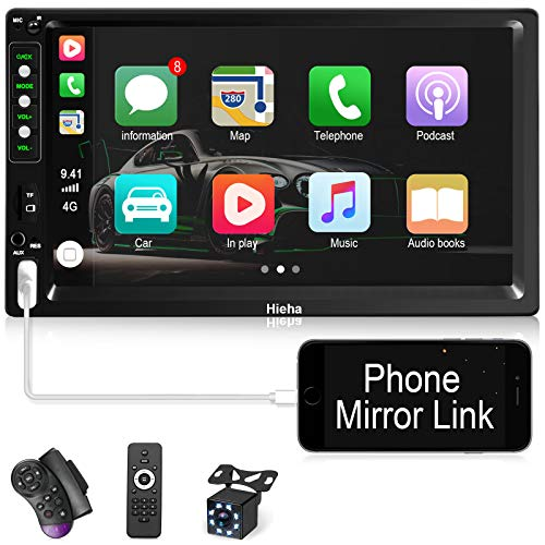 Hieha Double Din Car Stereo with Bluetooth Car Audio Receiver Support BT/TF/USB/AUX, Touch Screen 7...