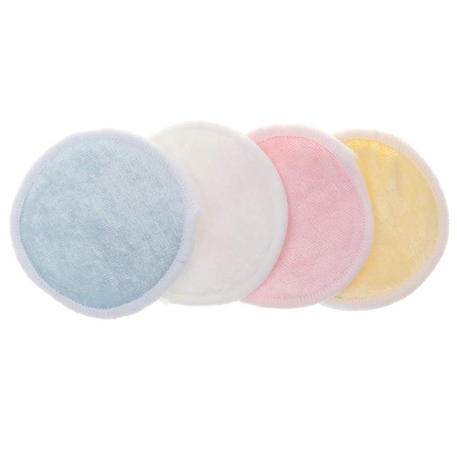 司書収穫適合しましたKESOTO 4個 メイク落としコットン クレンジングシート 化粧水パッド 再使用可能 バッグ付 実用的 全2サイズ - S