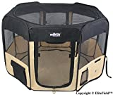 EliteField 2-Door Soft Pet Playpen, Exercise Pen, Multiple Sizes and Colors Available for Dogs, Cats and Other Pets (62' x 62' x 36'H, Black+Beige)