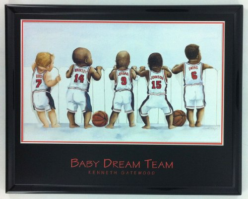 NBA Basketball Legends Jordan Johnson Ewing Barkley Print Framed F6511A