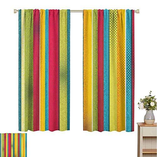 cortinas para sala de estar Vintage Rainbow, Rayas verticales envejecidas y desiguales con efectos retro de semitono Aspecto sucio, multicolor, para cortinas de habitación Paneles de oscurecimiento pa