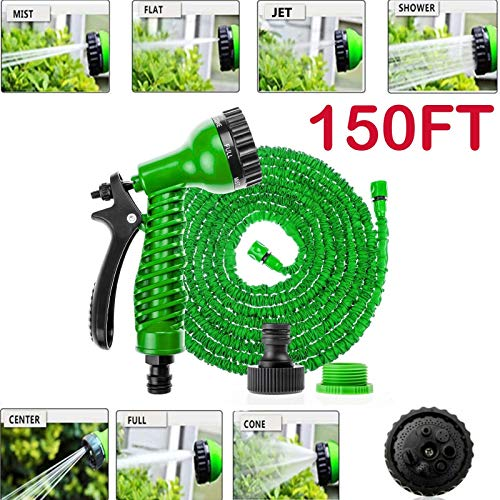 MWPO (Vert) 150FT Expanding Garden Water Hose Pipe 3 Times Expanding Flexible Prevent Leaking + 7 Settings Spray Nozzle + Universal Tap Connector for Washing Watering Cleaning