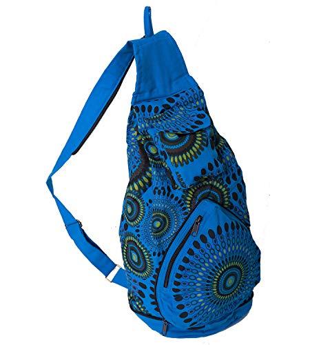 KUNST UND MAGIE Bunter Hippie Rucksack, Farbe:Blau