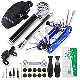 COZYROOMY Kit Herramientas Bicicleta,Reparación de pinchazos Bicicleta, 210 PSI Mini Pump, Herramienta 10 en 1 (con Separador de Cadena), Palancas de neumáticos y 10 Parches,1 Bolsa de sillín.