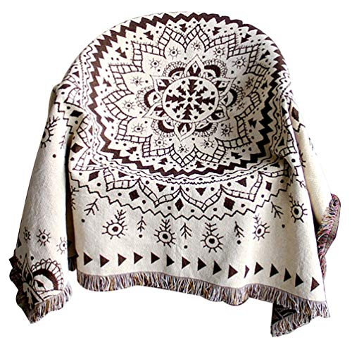 PHNAM Mandala Throw Blanket with Fringe for Couch Bed Solid Decorative Cozy Woven Knitted Warm Luxury Bed Throws Reversible Breathable for Chair, Living Room, Bedroom (51x63 inches)