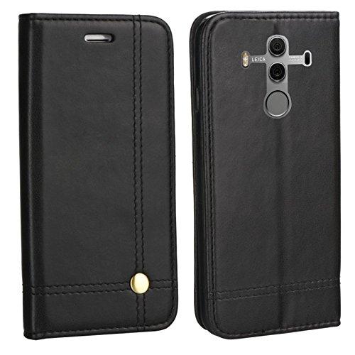 MOELECTRONIX Edle Buch Klapp Tasche SCHWARZ Flip Book Hülle Schutz Hülle Etui passend für Huawei Mate 10 PRO Dual SIM BLA-L29