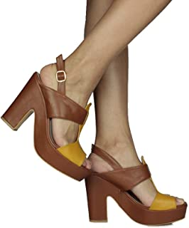 Loggalin 520905 169 Kadın Taba Sarı Platform Sandalet 44