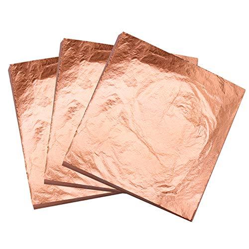 KINNO Fogli Foglia Oro Rosa, 100 Pezzi Foglia Rame Rossa per Arti e Mestieri, Pittura, Decorazioni per Mobili,Ceramica(16x16 cm)