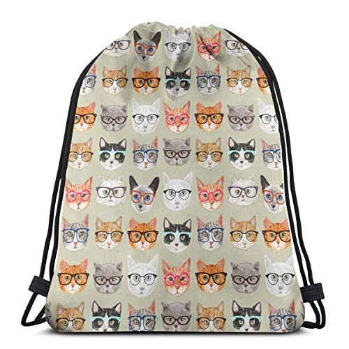WXM Gafas de sol Gatos bolsa de cordón impermeable al aire libre senderismo playa gimnasio bolsa de almacenamiento bolsa regalo para niñas 14 x 16 pulgadas
