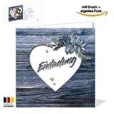 Rustikale blaue Hochzeitskarte - Einladungskarte in blauer Holz-Optik - Vintage Blumen Blau Einladung für deine Hochzeit - Hochzeitseinladungskarte mit Druck und deinem Bild (20)