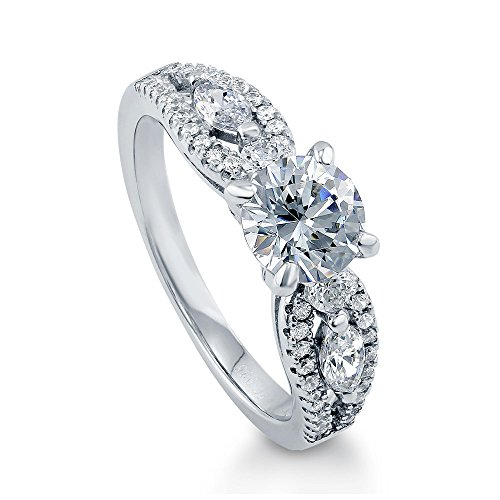 BERRICLE Rhodium Plated Sterling Silver Solitaire Promise Wedding Engagement Ring Made with Swarovski Zirconia Round 1.6 CTW Size 7