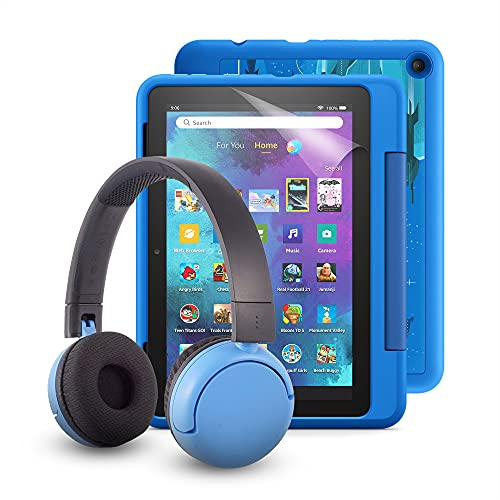 Fire HD 8 Kids Pro tablet (Intergalactic) + BuddyPhones Poptime Bluetooth Headset (Blue, Ages 8-15) + NuPro Screen…