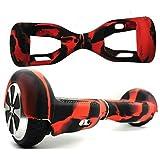 Coque de protection en silicone pour hoverboard de 16,5cm, noir/rouge
