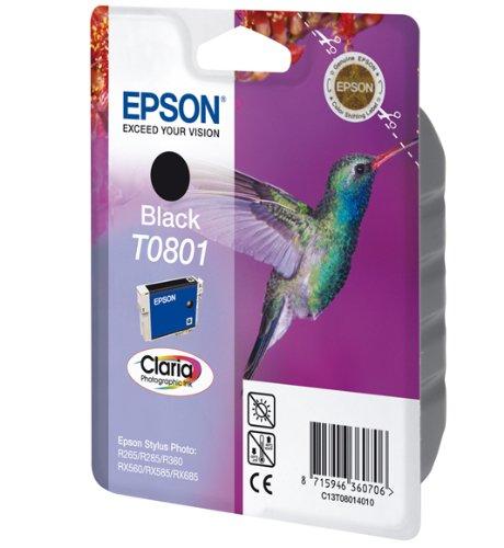 Epson Singlepack Black T0801 Claria Photographic Ink - Cartucho de tinta para impresoras (Original, Tinta a base de pigmentos, Negro, PX720WD/730WD/820FWD/830FWD, 1 pieza(s), Impresión por inyección de tinta)