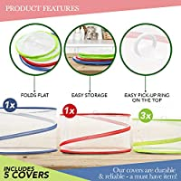 5 Pack Collapsible Pop Up Food Cover Tents - Reusable Mesh Screen Net Covers to Protect Your Food from Flies Bugs Mosquitos Insect - Ideal for Indoor Outdoor Picnic Summer BBQ Barbecue. 3