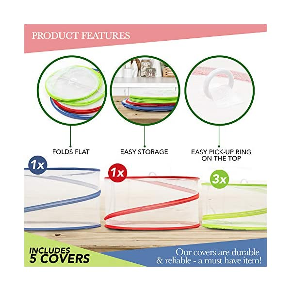 5 Pack Collapsible Pop Up Food Cover Tents - Reusable Mesh Screen Net Covers to Protect Your Food from Flies Bugs… 1
