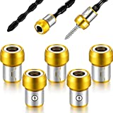 5 Pieces Magnetic Screw Ring Metal Bit Magnetizer Ring Screw Magnetic Holders Fit for 1/4 Inch/ 6.35 mm Hex...