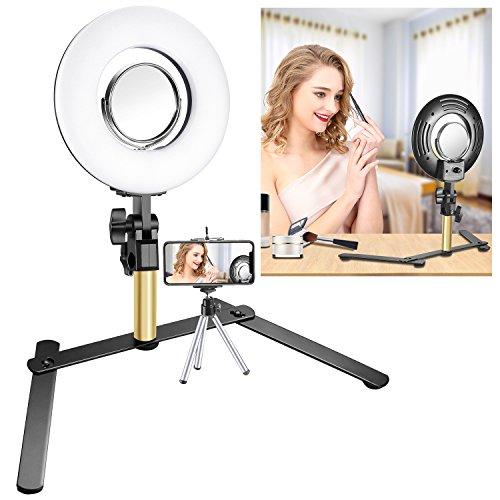 Neewer Kit di Luce Anulare da Tavolo per Truccatura: Mini Luce LED Anulare 19,5cm Dimmerabile con 9cm Specchio, per Blog di Bellezza Truccatura Selfie Video Fotografia(SENZA Borsa)
