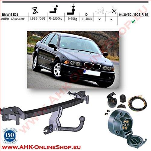 ATTELAGE avec faisceau 7 broches | BMW 5 E39 1995 à 2003 Berline/crochet «col de cygne» démontable avec outils