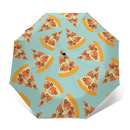 Pizza Slice Pattern Automatic Tri-fold Umbrella Folding Rain Umbrell Sunshade