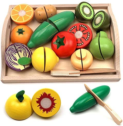 Take Me Away Wooden Cutting Fruit Vegetables Set for Kids Pretend Play Food Toy Set with Wooden product image