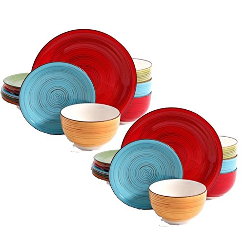 Better Homes and Gardens Festival 12-Piece Dinnerware Set, Assorted, Dishwasher Safe, 1-Pack