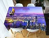 XXDD Patrón de Mantel con Vista Nocturna de la Ciudad 3D Mantel Decorativo Hotel Restaurante Cubierta de Mesa Impermeable A8 150x210cm