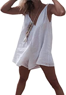 Women Casual Cotton Linen Short Jumpsuit Romper V-Neck Rompers