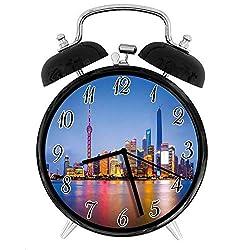 22yiihannz Stylish Modern Alarm Clock-3.8inch,City Skyline of Shanghai China on Huangpu River Dusk Famous Travel Destination-No Ticking,Soft Night Light,Good Gift for Decorating The Room