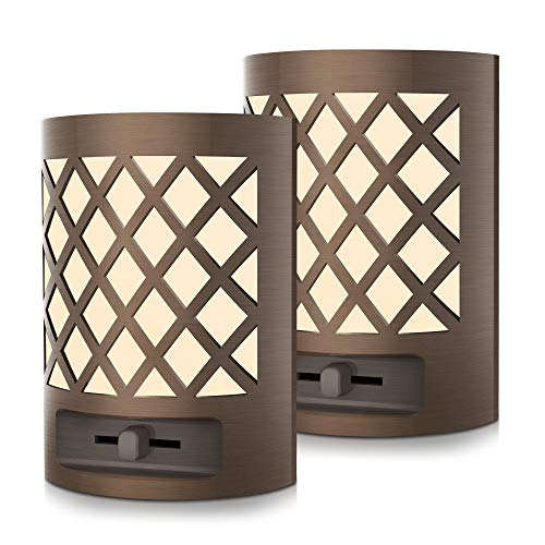 Dimmable Night Light Plug in, DORESshop 1W(15W Equivalent) Vintage LED Dusk to Dawn Sensor Night Light, Adjustable Brightness from 0LM-60LM, 110V, Soft White 3000K for Bedroom, Hallway, Nursery, 2Pack