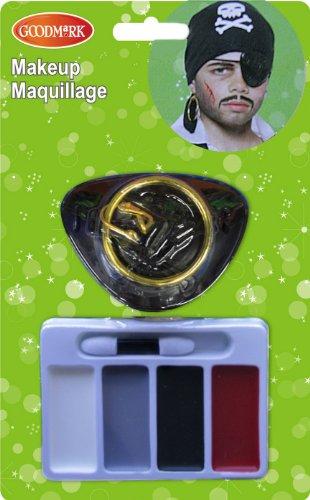 COOLMP - Set di 3 Mini Kit Trucco da Pirata, Taglia Unica, per Feste, Capelli, Pelle, Labbra, Occhi, Carnevale, Serata in Maschera, Compleanno