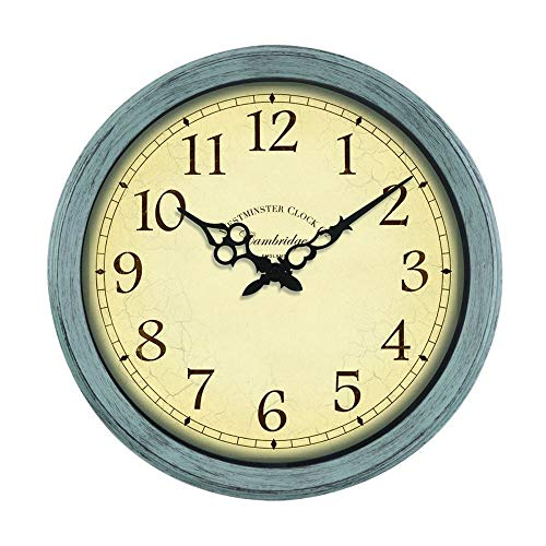 Cambridge Indoor Outdoor Garden Clock 14' | Weatherproof UV Resistant Westminster Style Clock Duck Egg Blue