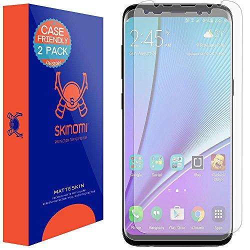 Skinomi Matte Screen Protector Compatible with Galaxy S8 Plus (2-Pack)(Case Friendly) Anti-Glare Matte Skin TPU Anti-Bubble Film