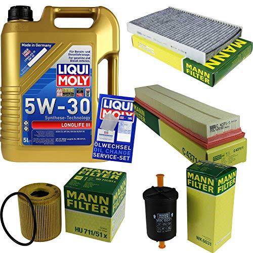 Filter Set Inspektionspaket 5 Liter Liqui Moly Motoröl Longlife III 5W-30 MANN-FILTER Innenraumfilter Kraftstofffilter Luftfilter Ölfilter