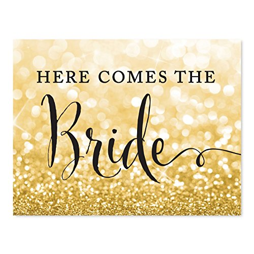 Andaz Press Wedding Party Signs, Glitzy Gold Glitter, 8.5x11-inch, Here Comes The Bride Flower Girl or Ring Bearer Ceremony Sign, 1-Pack