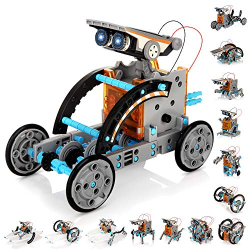 KIDWILL Solar Robot Kit for Kids, 14-in-1 Educational STEM Science Toy, Solar Power Building Kit DIY Assembly Battery Operated Robotic Set for Kids, Teens and Science Lovers(Battery Include)
